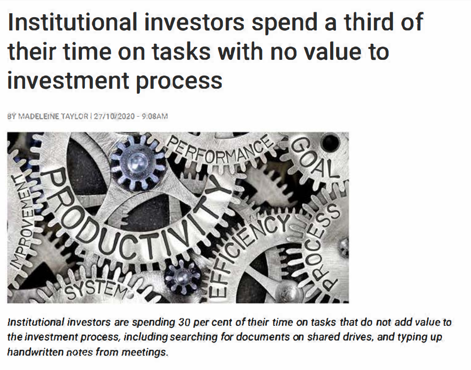 Institutional investors spend a third of their time on tasks with no value to investment process